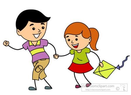 brother and sister playing together clipart