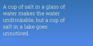 Salt, Glass of Water and the Lake