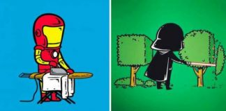 Funny Superheroes Illustrations Working 1
