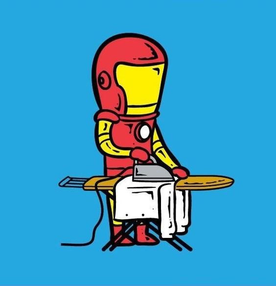 Funny-Superheroes-Illustrations-Working-Iron-Man