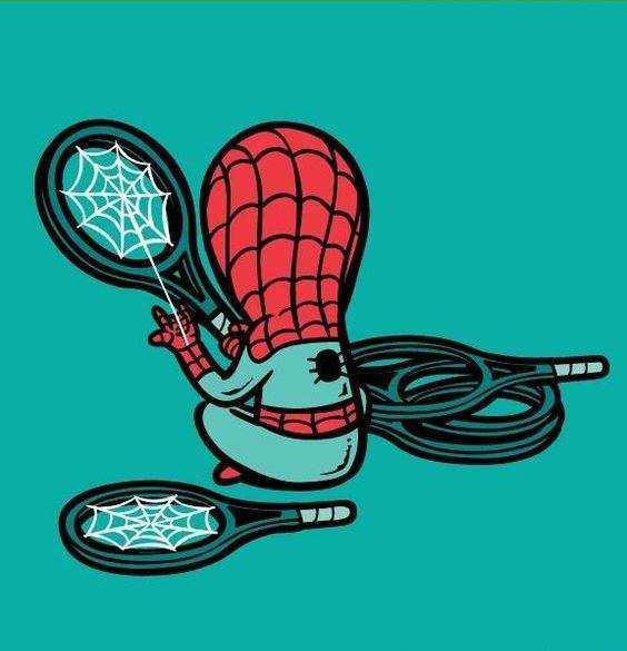 Funny-Superheroes-Illustrations-Working-Spiderman
