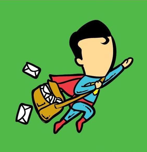 Funny Superheroes Illustrations Working Superman