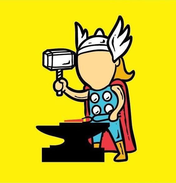 Funny-Superheroes-Illustrations-Working-Thor