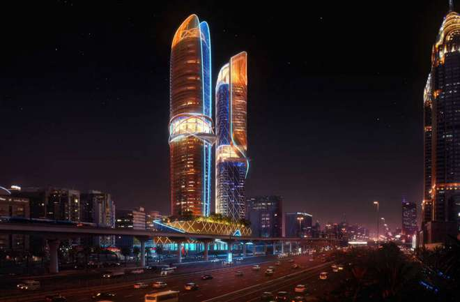 Rainforest-Hotel-Rosemont-Dubai-Night-view