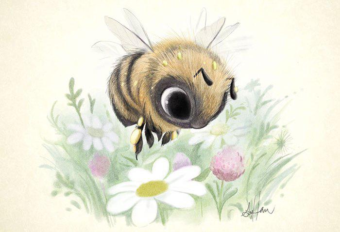 Cute-Animal-Illustrations-Bee-Syndey-Hanson