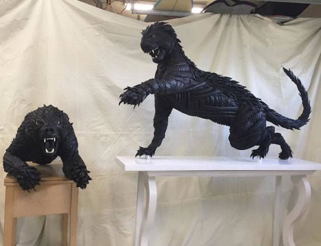 Blake-McFarland-Tire-Sculptures-Bear-and-Cougar