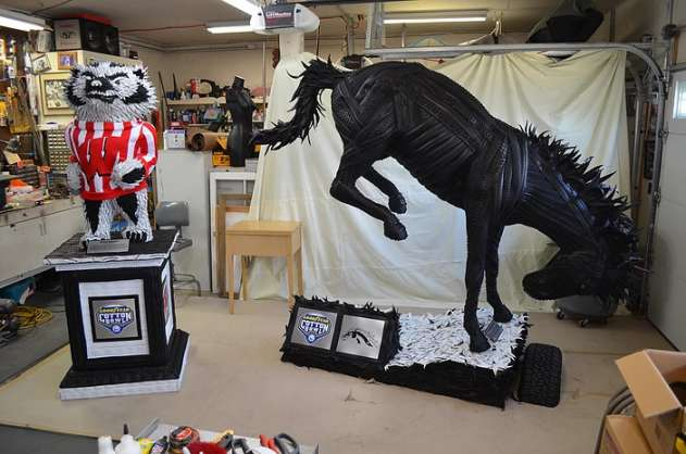 Blake-McFarland-Tire-Sculptures-Bronco-and-Bucky-the-Badger