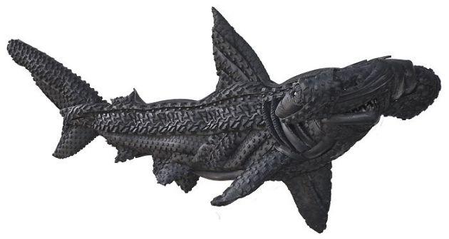 Blake-McFarland-Tire-Sculptures-Hammerhead-Shark