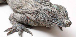 Japanese Artist Rolling Newspapers Animal Sculptures